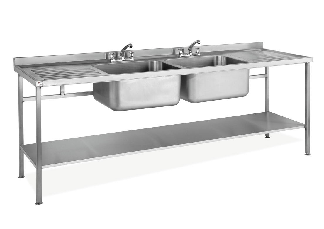 Stainless Steel Assembled Sink Double Bowl Double Drainer ...