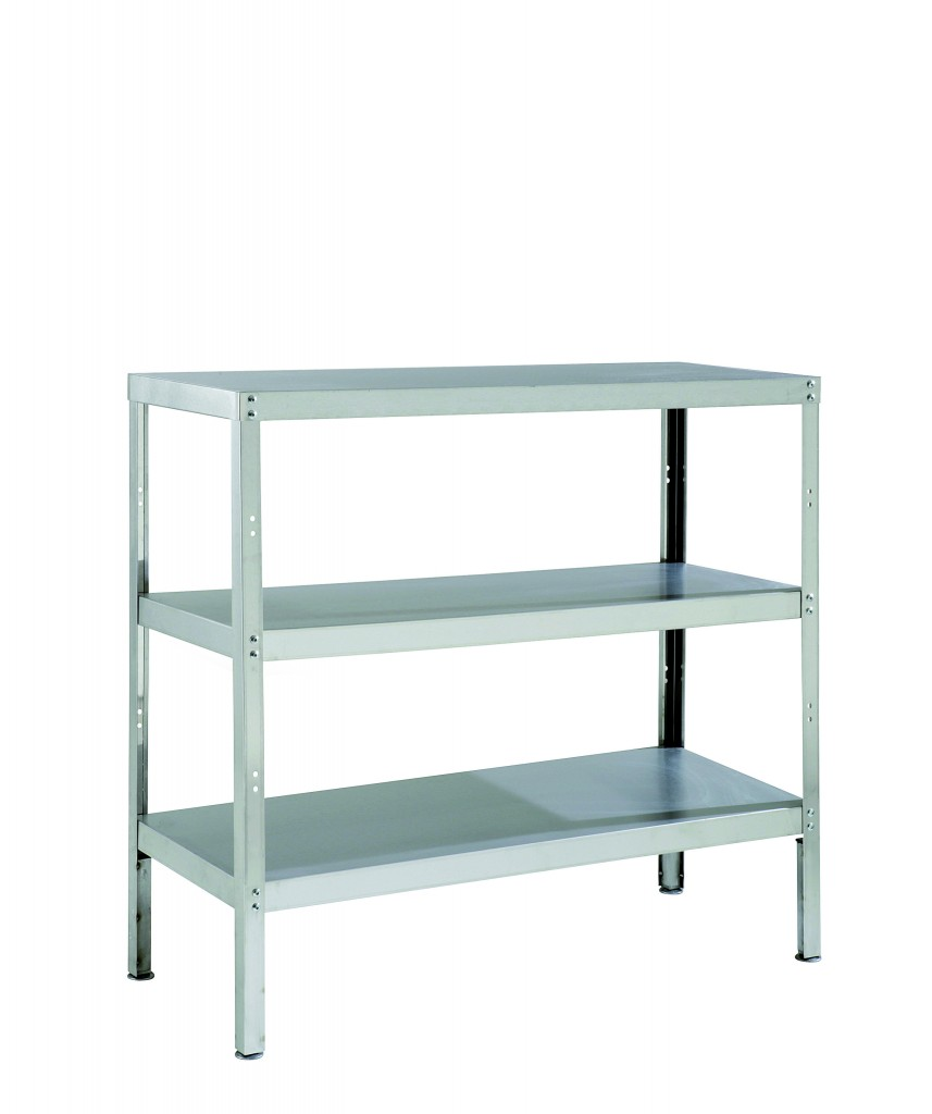 Stainless Steel Storage Rack with 3 Shelves & Adjustable Feet – RACK3S